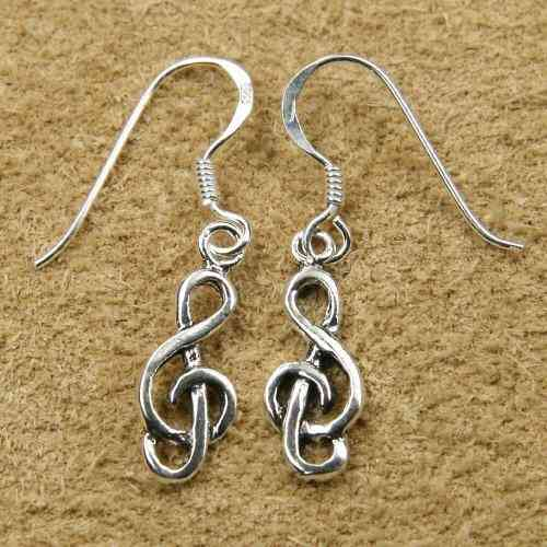 Celtic Silver Earring Clef